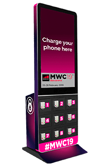 Tótem de carga para celulares con pantalla digital