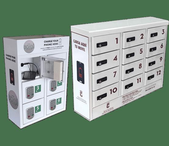 Taquillas para cargar celulares en centros comerciales