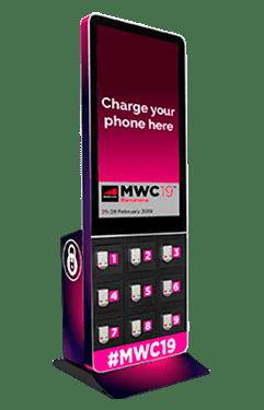 Estación de carga de celulares con pantalla para eventos